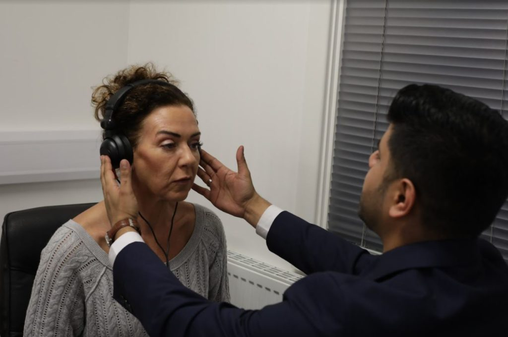 hearing test with the hearing specialist